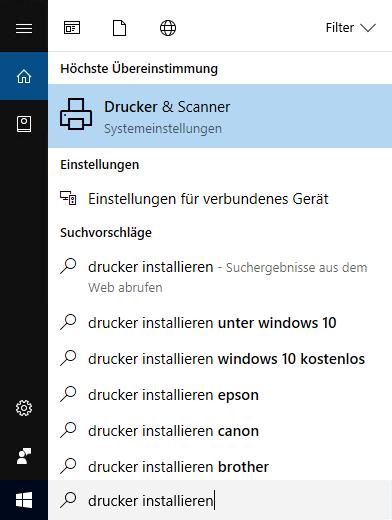 """Cortana hilft beim Suchbegriff """"Drucker installieren"""" weiter"""
