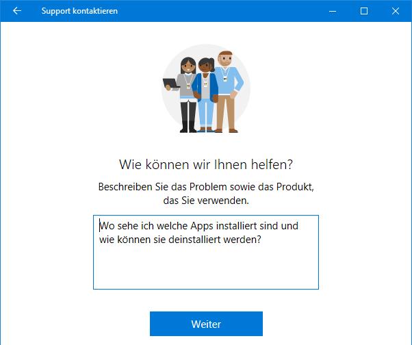 """App """"Support kontaktieren"""" - welche Fragen haben Sie an den Support?"""